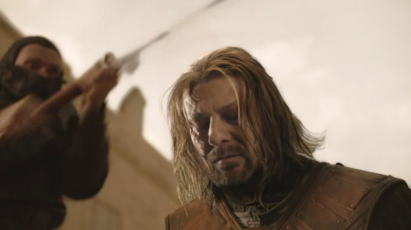 Sean Bean as Eddard Stark on Game of Thrones S01E09